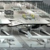 Sloped boarding lounges prepare the passengers for their flights