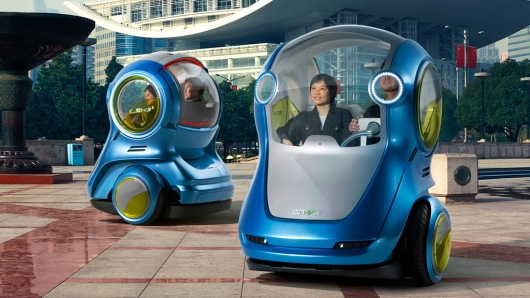 GM's EN-V is a concept two-wheeled vehicle for personal transportation in the cities of th...