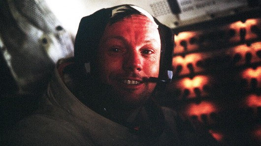 Astronaut Neil A. Armstrong, Apollo 11 Commander, inside the Lunar Module as it rests on t...