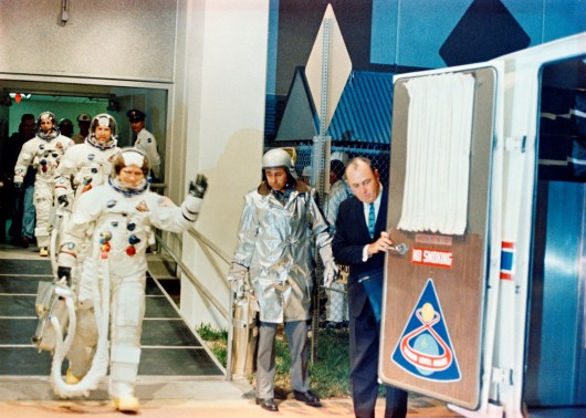 Apollo 8 crew headed for the launch pad (Image: NASA)