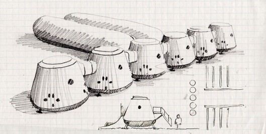 Sketch of the Mars One settlement. The company worked at this project in secret since Janu...